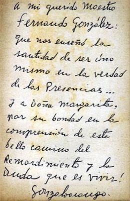 Manuscrito de Gonzalo Arango