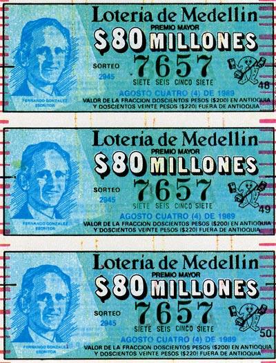 Billete de la Lotería de Medellín dedicado a Fernando González