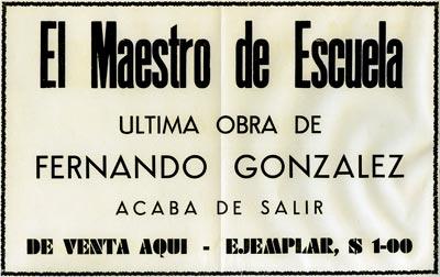 El maestro de escuela - Ultima obra de Fernando González