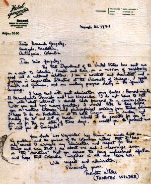 Carta de Thornton Wilder a Fernando González Ochoa