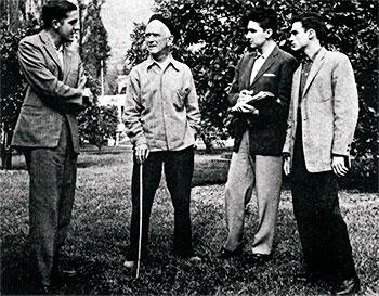 Otraparte, 1959. De izquierda a derecha: Luis Alfonso Vélez Correa, Fernando González, Javier Henao Hidrón y Mauricio Correa Restrepo.