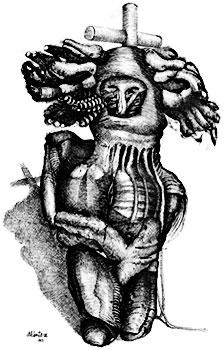 """Ilustración por Pedro Alcántara - De la serie """"Qué muerte duermes, ¡levántate!"""" (1967)"""