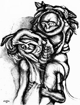 """Ilustración por Pedro Alcántara - De la serie """"Qué muerte duermes, ¡levántate!"""" (1968)"""