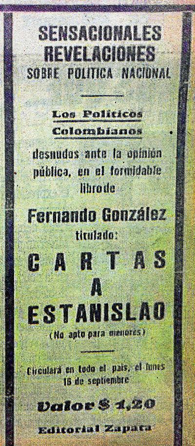 """Aviso promocional de """"Cartas a Estanislao"""", publicado en La Patria de Manizales el 7 de septiembre de 1935"""