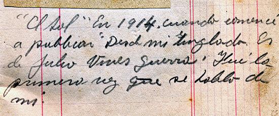 """Nota manuscrita por Fernando González a raíz del primer artículo escrito sobre """"Pensamientos de un viejo"""""""