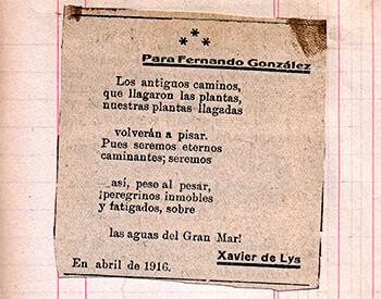 """Poema de Xavier de Lys para Fernando González a raíz de la publicación de """"Pensamientos de un viejo"""""""