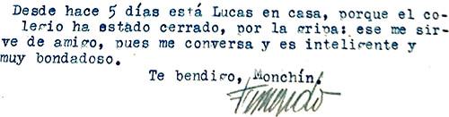 """Carta de Fernando González a su hijo Simón: """"Desde hace 5 días está Lucas en casa, porque el colegio ha estado cerrado, por la gripa: ese me sirve de amigo, pues me conversa y es inteligente y muy bondadoso""""."""