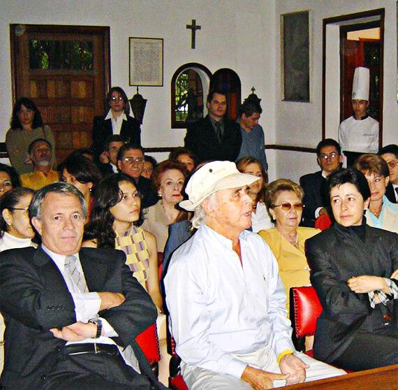Lucas González, Simón González y Lina Moreno de Uribe. Casa Museo Otraparte, mayo 29 de 2003.