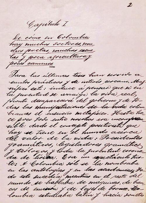 Primera página de «Una tesis» de Fernando González Ochoa