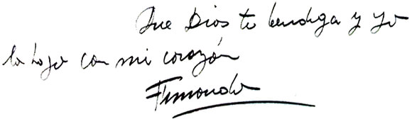 """Carta a Simón González Restrepo (fragmento): """"Que Dios te bendiga y yo lo hago con mi corazón""""."""