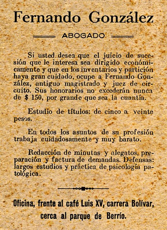 Aviso publicitario del abogado Fernando González