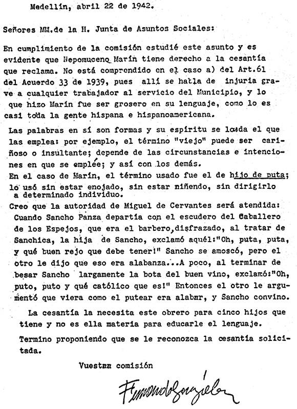 Carta de Fernando González en defensa del obrero Nepomuceno Marín