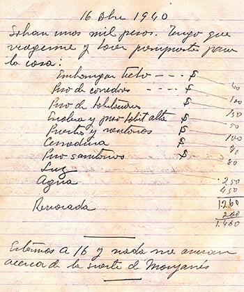 Página de una libreta de Fernando González de 1940