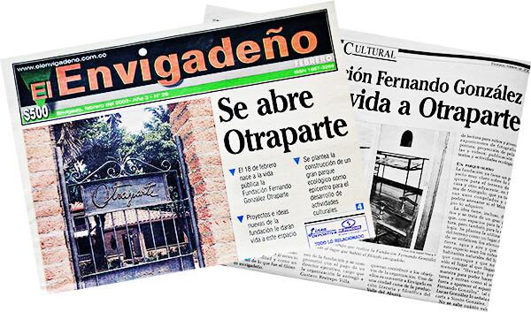 Artículo del periódico El Envigadeño de febrero de 2002 en el que se anuncia la apertura de la Casa Museo Otraparte