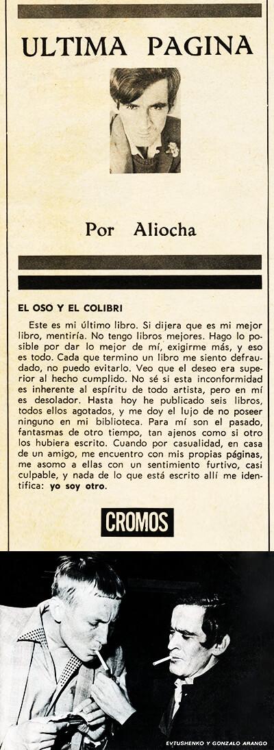 Facsímil de una columna de Gonzalo Arango en la revista «Cromos»