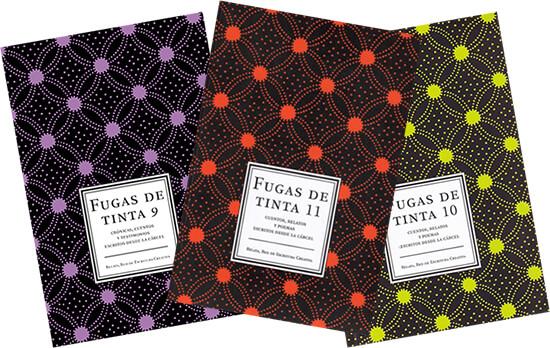 Portadas de las antologías «Fugas de tinta» tras las rejas