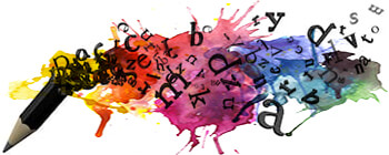 Ilustración de lápiz y letras volando sobre colores