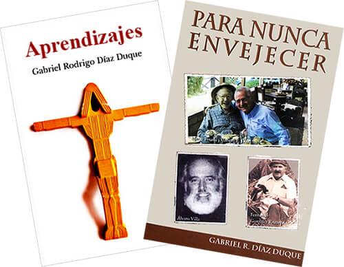 Portadas de los libros «Aprendizajes» y «Para nunca envejecer» del sacerdote Gabriel Rodrigo Díaz Duque (1933 - 2019)