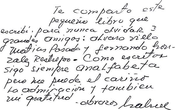 Dedicatoria escrita en el libro «Para nunca envejecer» del sacerdote Gabriel Rodrigo Díaz Duque (1933 - 2019)