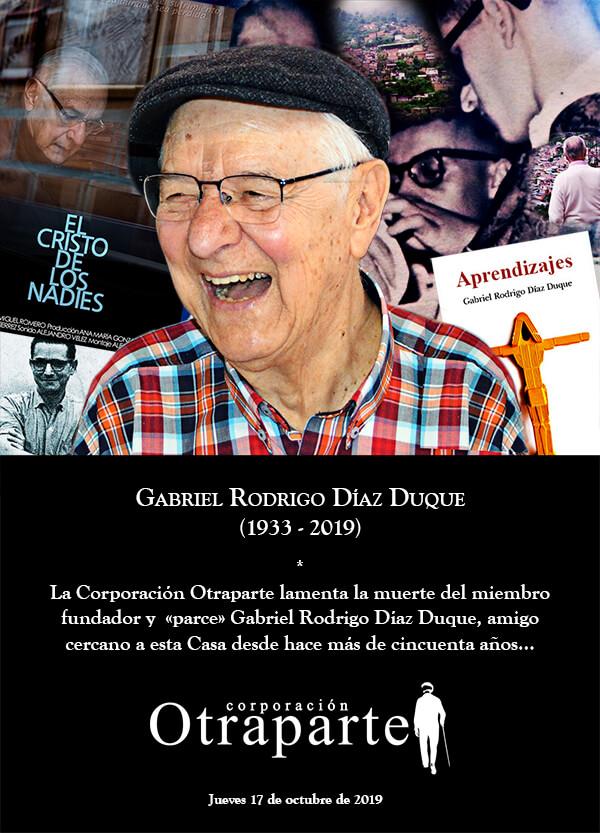 Afiche publicado por la Corporación Otraparte en redes sociales en homenaje al padre Gabriel Díaz Duque en el día de su muerte