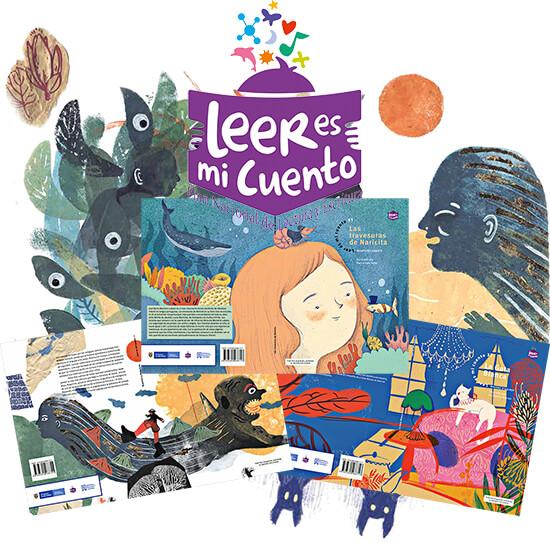 Montaje de logo, portadas e ilustraciones del programa «Leer es mi Cuento» del Ministerio de Cultura de Colombia