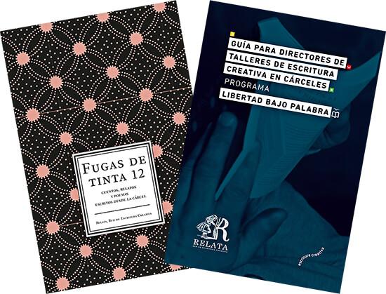 Portadas de «Fugas de tinta 12» y «Guía para directores de talleres de escritura creativa en cárceles»