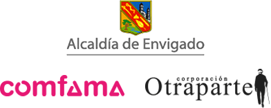 Logos de la Alcaldía de Envigado, la Corporación Otraparte y Comfama
