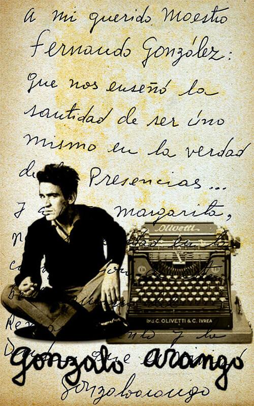 Dedicatoria manuscrita de Gonzalo Arango a Fernando González