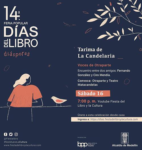Afiche de invitación al evento «Voces de Otraparte» en los Días del Libro 2020