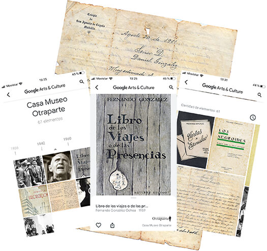 Portadas de las dos exposiciones de la Casa Museo Otraparte en el portal Google Arte & Cultura