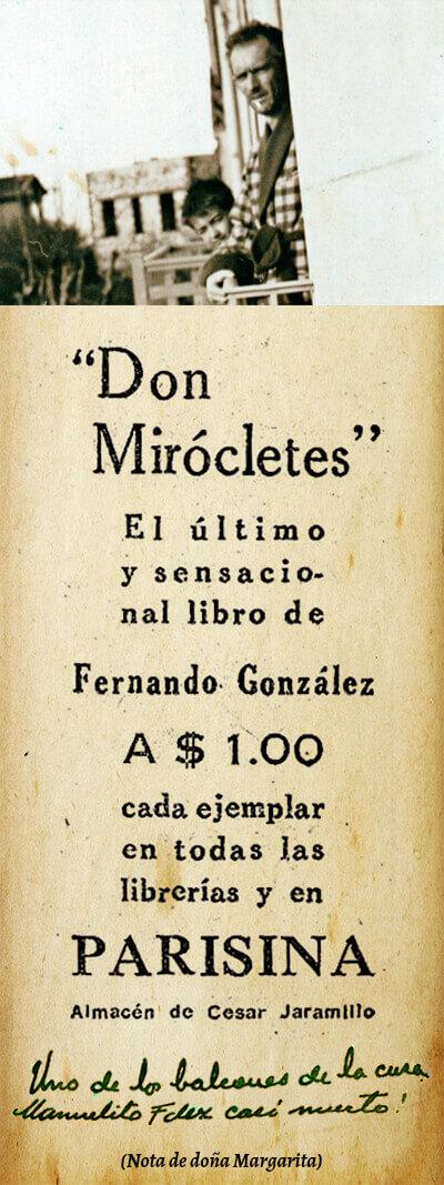 Foto de Fernando González y aviso de prensa de «Don Mirócletes»