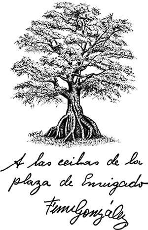 Dedicatoria de Fernando González en «Don Mirócletes» e ilustración de ceiba por María José García Moreno