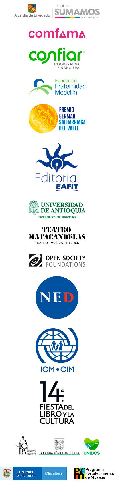 Logos de las entidades que apoyaron en 2020 a la Corporación Otraparte