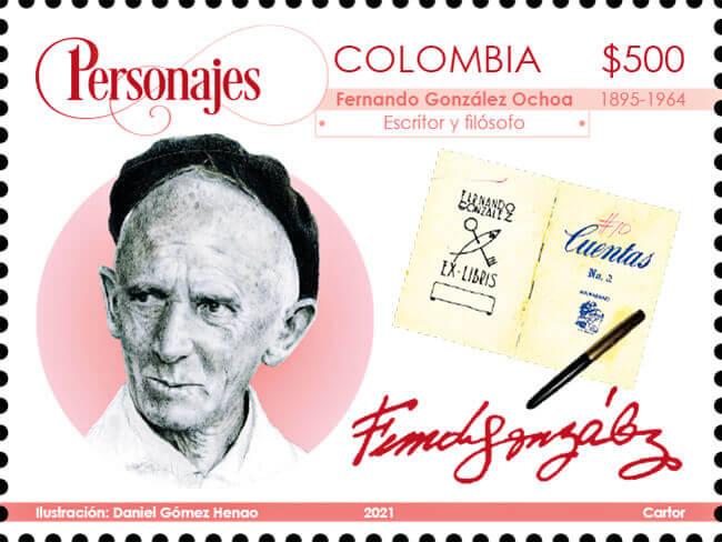 Estampilla dedicada a Fernando González en la emisión filatélica «Personajes colombianos de todas las épocas» (serie 2021)