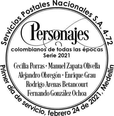 Matasellos de la emisión filatélica «Personajes colombianos de todas las épocas» (serie 2021)