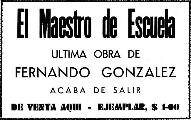 Afiche promocional de «El maestro de escuela» de Fernando González en 1941