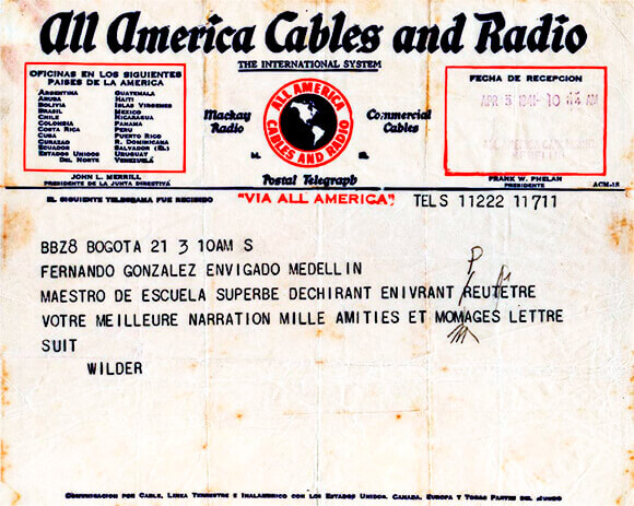 Telegrama de Thornton Wilder a Fernando González