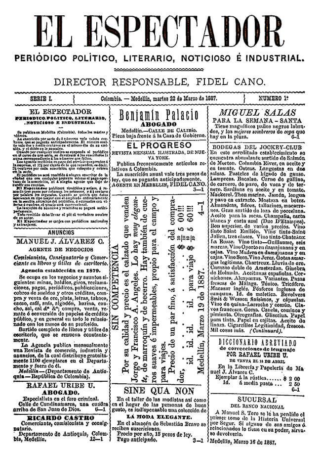 Primera página del primer número del periódico «El Espectador», publicado en Medellín el martes 22 de marzo de 1887.