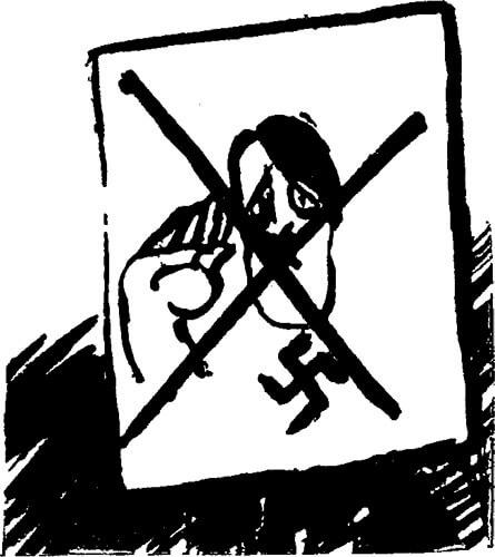Caricatura de Adolfo Hitler, publicada en la revista Antioquia n.° 12 (1939).