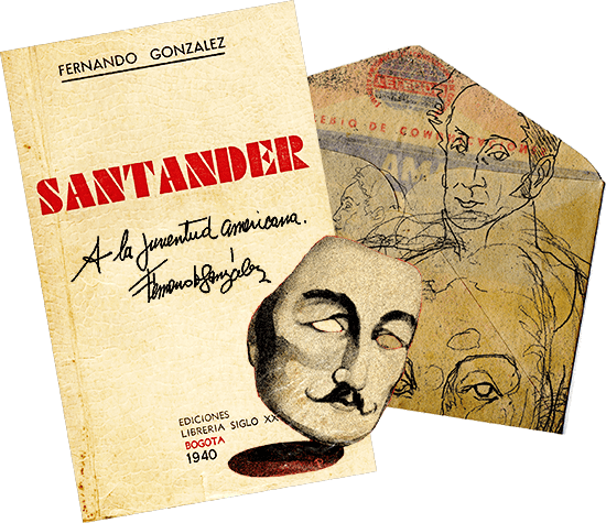 Montaje de la portada original del libro «Santander» de Fernando González con otras imágenes e ilustraciones