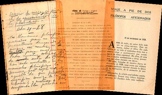 Facsímiles de libreta, mecanuscrito y libro de «Viaje a pie» de Fernando González