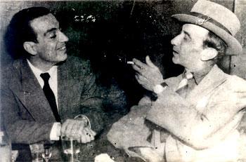 Alberto Upegui Benítez con Tartarín Moreira, destacado compositor y poeta antioqueño. Foto de la década 1940 a 1950.