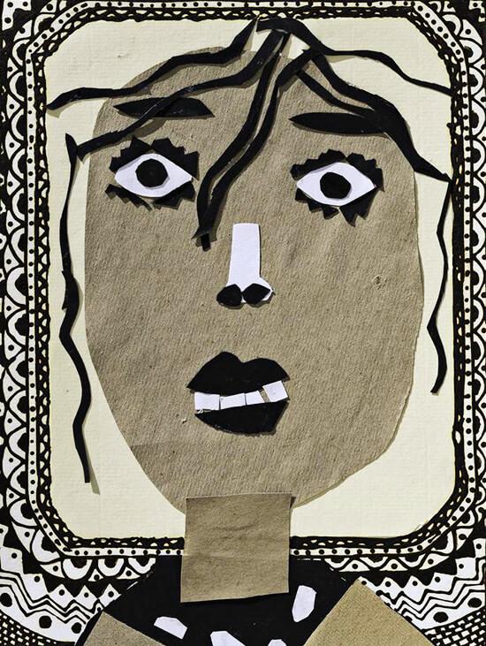 Obra de un niño que participó en los talleres de Ana Griott en Senegal.