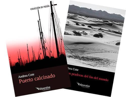 Portadas de los libros de poesía «Puerto calcinado» y «En las praderas del fin del mundo» de Andrea Cote Botero.