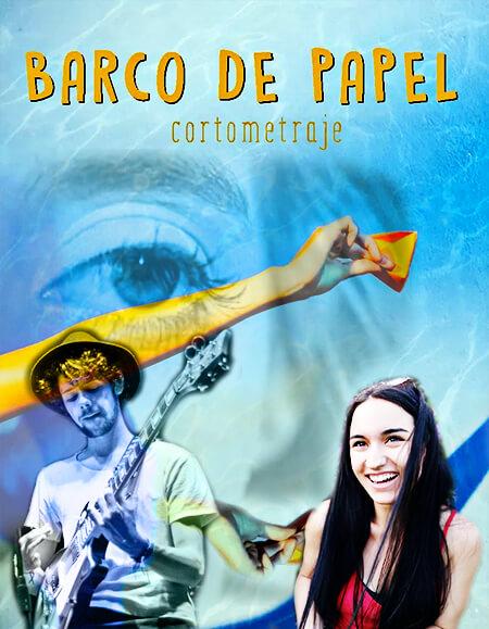 Afiche del cortometraje «Barco de papel» con fotos agregadas de Andrea Higuita y Andrés Balbín