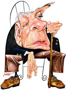 Jorge Luis Borges / Salón Mundial del Cómic / Ilustración por Fernandez (Brasil)