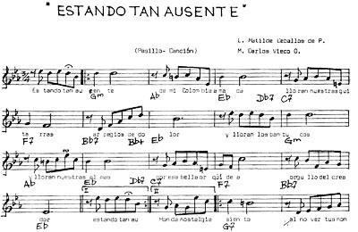 """Partitura de """"Estando tan ausente"""" de Matilde Ceballos y Carlos Vieco Ortiz (1900 - 1979)"""
