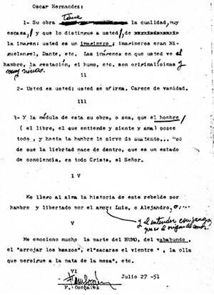 Carta de Fernando González a Óscar Hernández