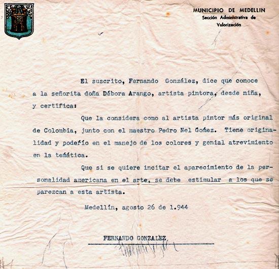 Carta de recomendación de Fernando González para Débora Arango
