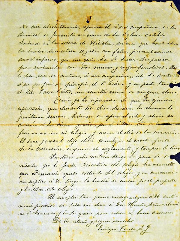 Carta del padre rector Enrique Torres a Daniel González, padre de Fernando González, por medio de la cual lo expulsan del colegio San Ignacio de Loyola en 1911